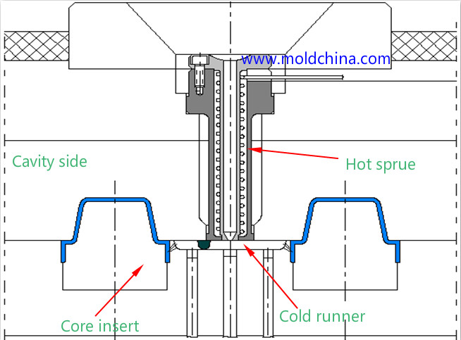 The hot sprue/cold runner mold structure