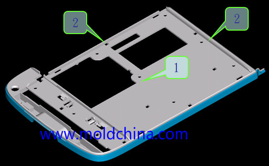 Gate location in two plates mold